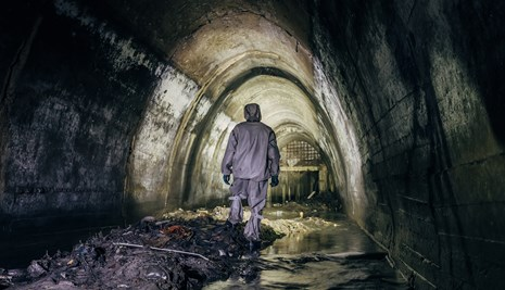 Worker in sewer