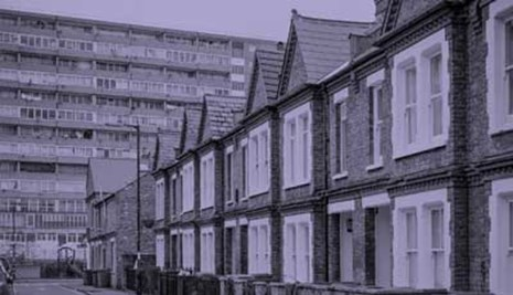 Row of terraced houses and a council block