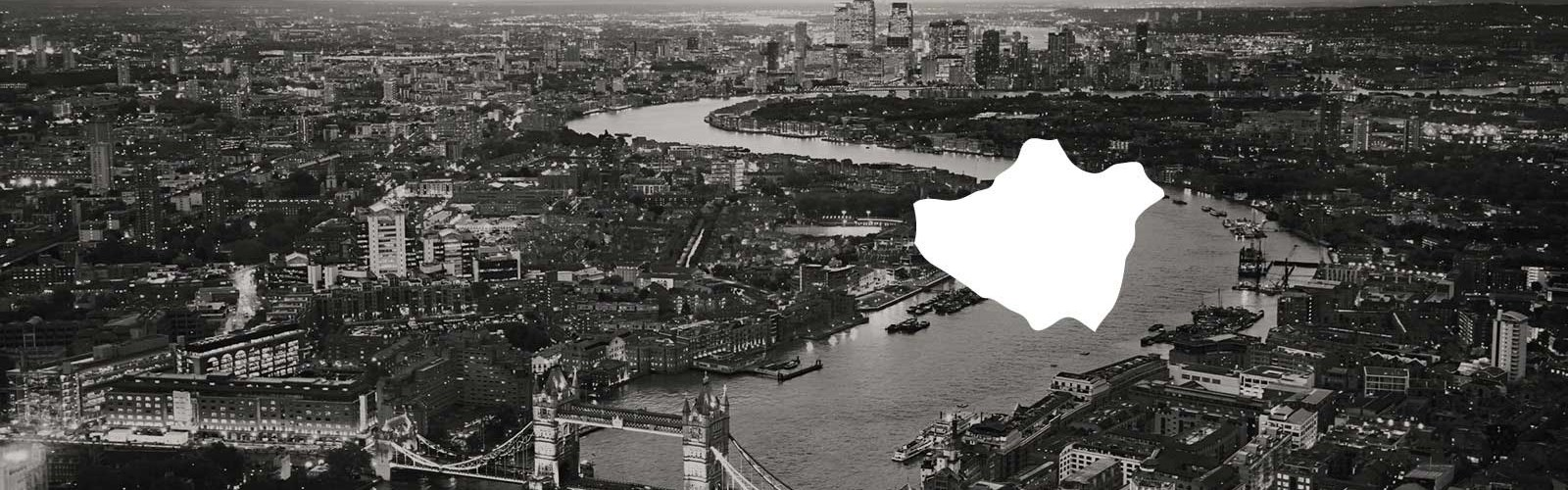 Photo of the Thames with a white map of London