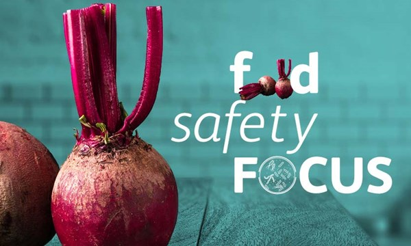 A photo of two beetroots with the words 'food safety focus'