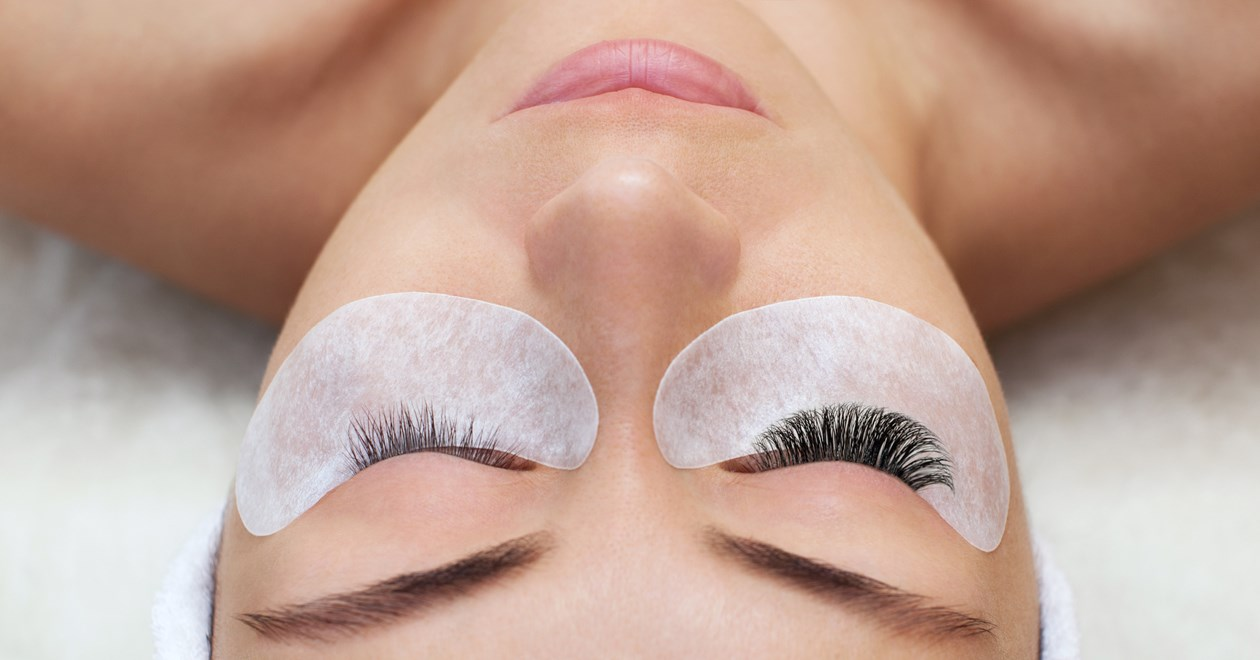 Woman with long lashes in a beauty salon