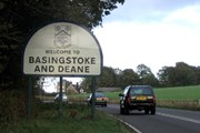 Welcome sign to Baskingstoke and Deane