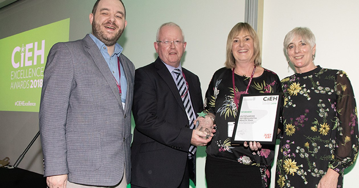 Environmental Health Manager Wendy Brolly and Deputy Mayor Alderman John Smyth collect the Outstanding Environmental Health Team 2018 award on behalf of Antrim and Newtownabbey Borough Council Health and Wellbeing Team