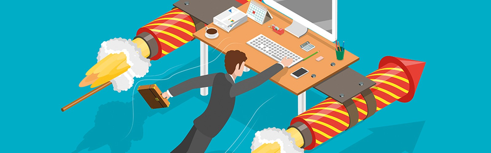 Illustration of a manager and their desk taking flight – with rockets