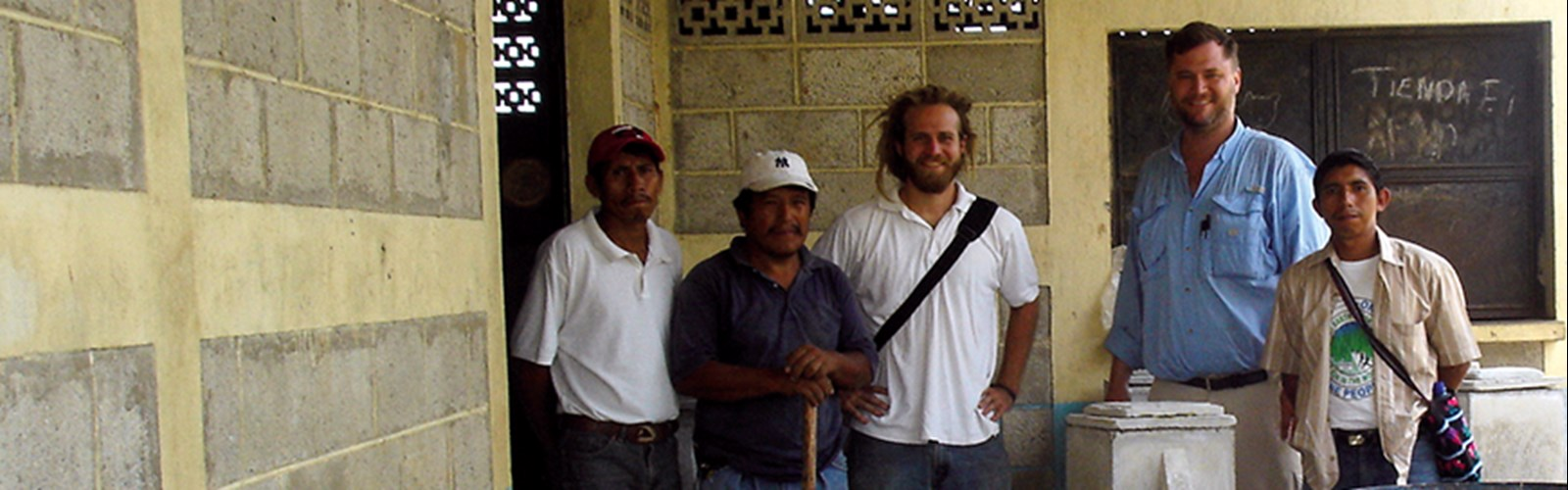 Daniel Oerther visits a water-filter construction site in rural Guatemala