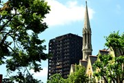 A blackened Grenfell Tower soon after the fire