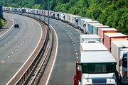 Lorries queue on the M20 during Operation Stack