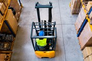 Forklift truck seen from above