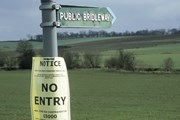A 'no entry' sign in a field during the foot and mouth outbreak of 2001