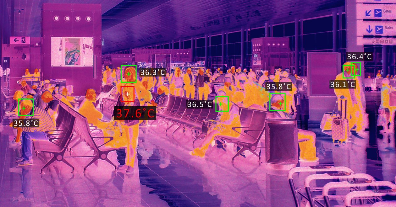 Thermal scanner of people at airport