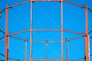 A disused gasometer frame.