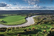 Aerial shot of the River Severn winding through countryside