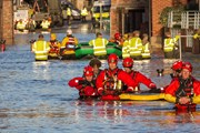 Flood rescue by the British Army and the Mountain Rescue at Queens Staith Road near the Ouse Bridge in York City Centre after heavy rain, on 27 December 2015
